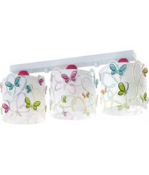 Dalber 62143 Schmetterlingen Deckenlampe, 3-Flammige, Plastik, rosa, 51 x 15 x 19 cm [Energieklasse A]