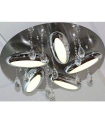 LED Deckenleuchte Carisma 5-flammig  rund mit Kristallen höhenverstellbar Ø: 50cm